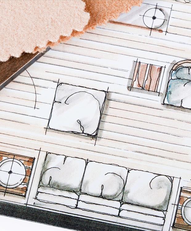 Utsnitt av tegning som viser interiørplanlegging / KASPARA Boligstyling & Interiør
