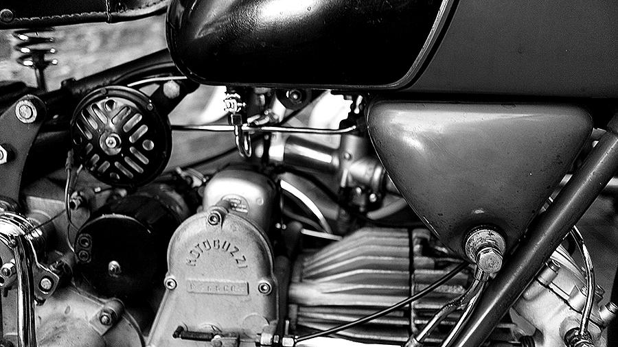 Photo of a vintage Moto Guzzi engine