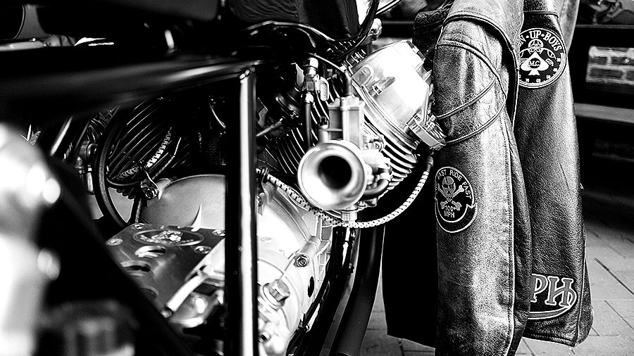 Photo of a custom Triumph motorcycle carburetor