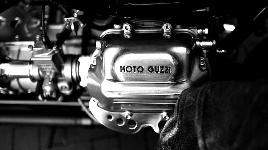 Photo of a custom Triumph motorcycle engine