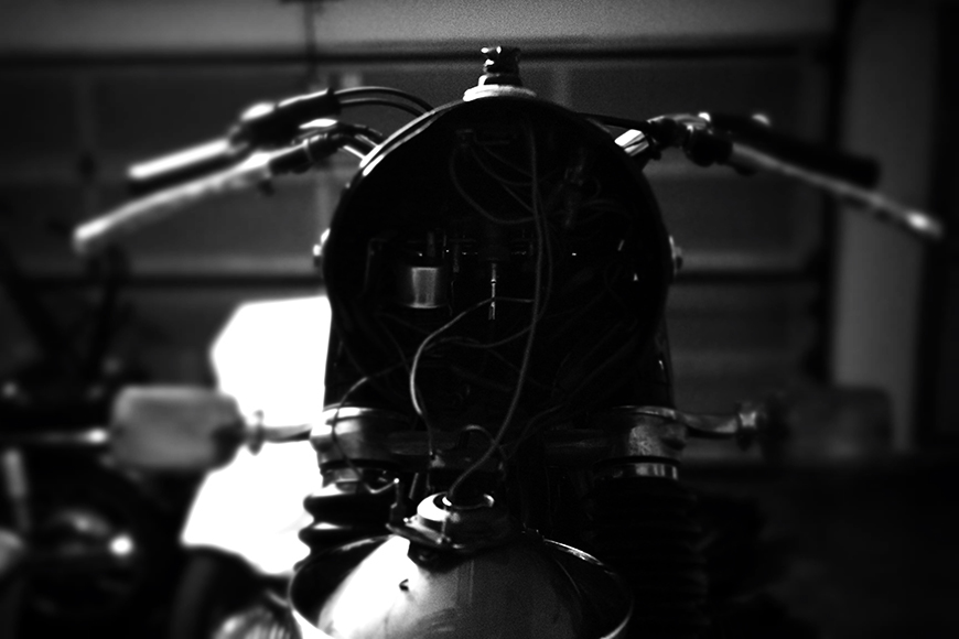 Photo of a BMW R75/5 headlamp in repair