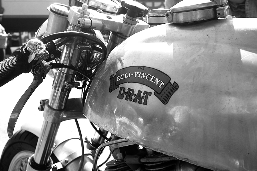 Photo of a custom Vincent gas tank and carburetor