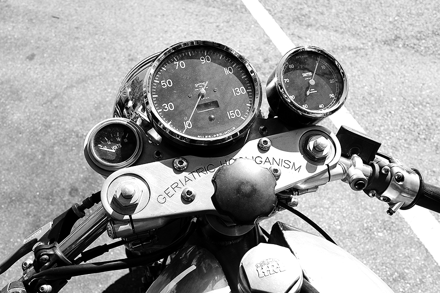 Photo of a custom Vincent instrument panel