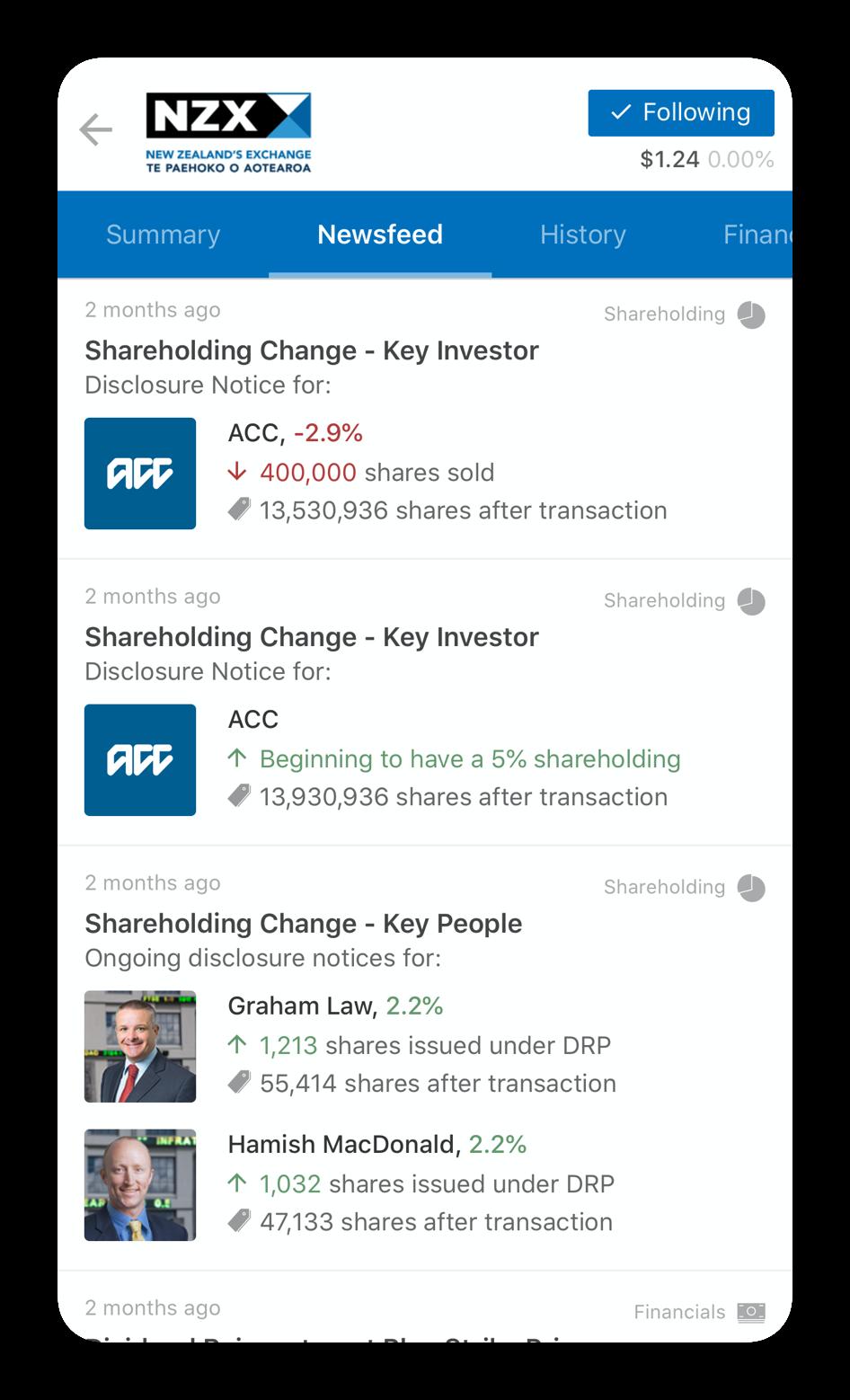 Reap newsfeed screenshot