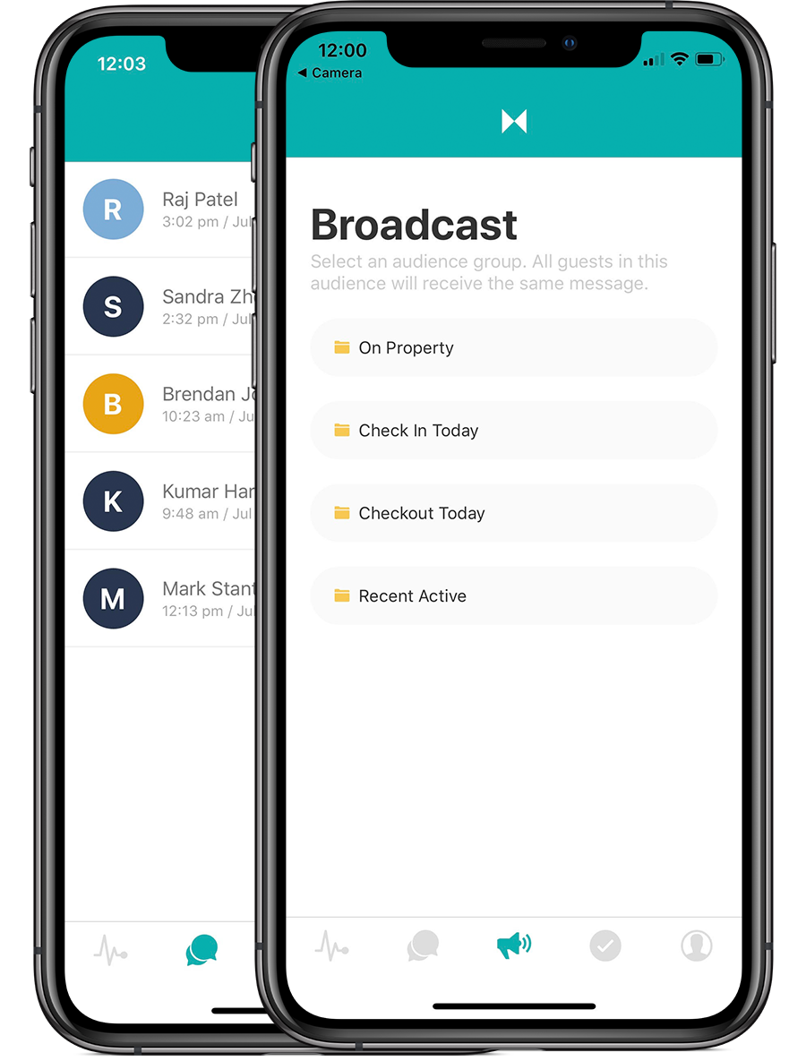 sample of broadcast messaging filters on mobile