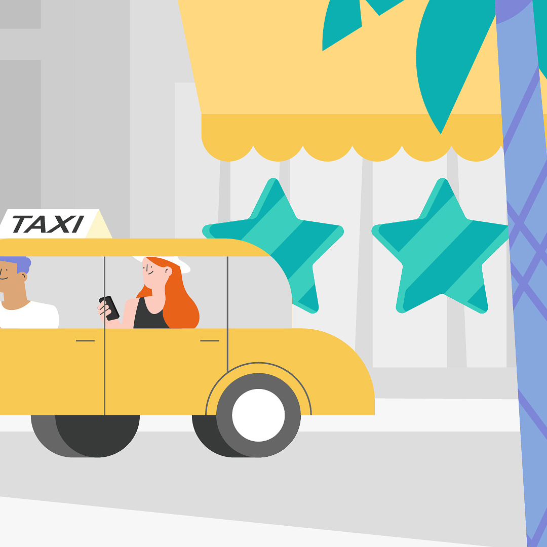 girl in a taxi rating the hotel 5 stars