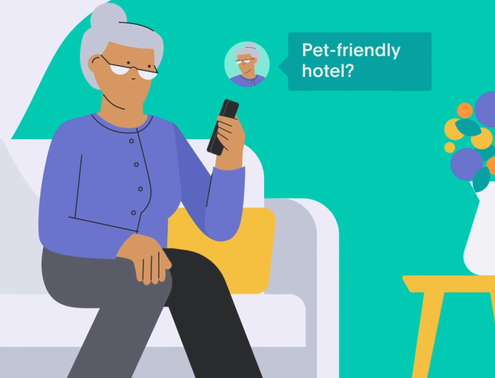 Guest asking Akia if the hotel is pet-friendly