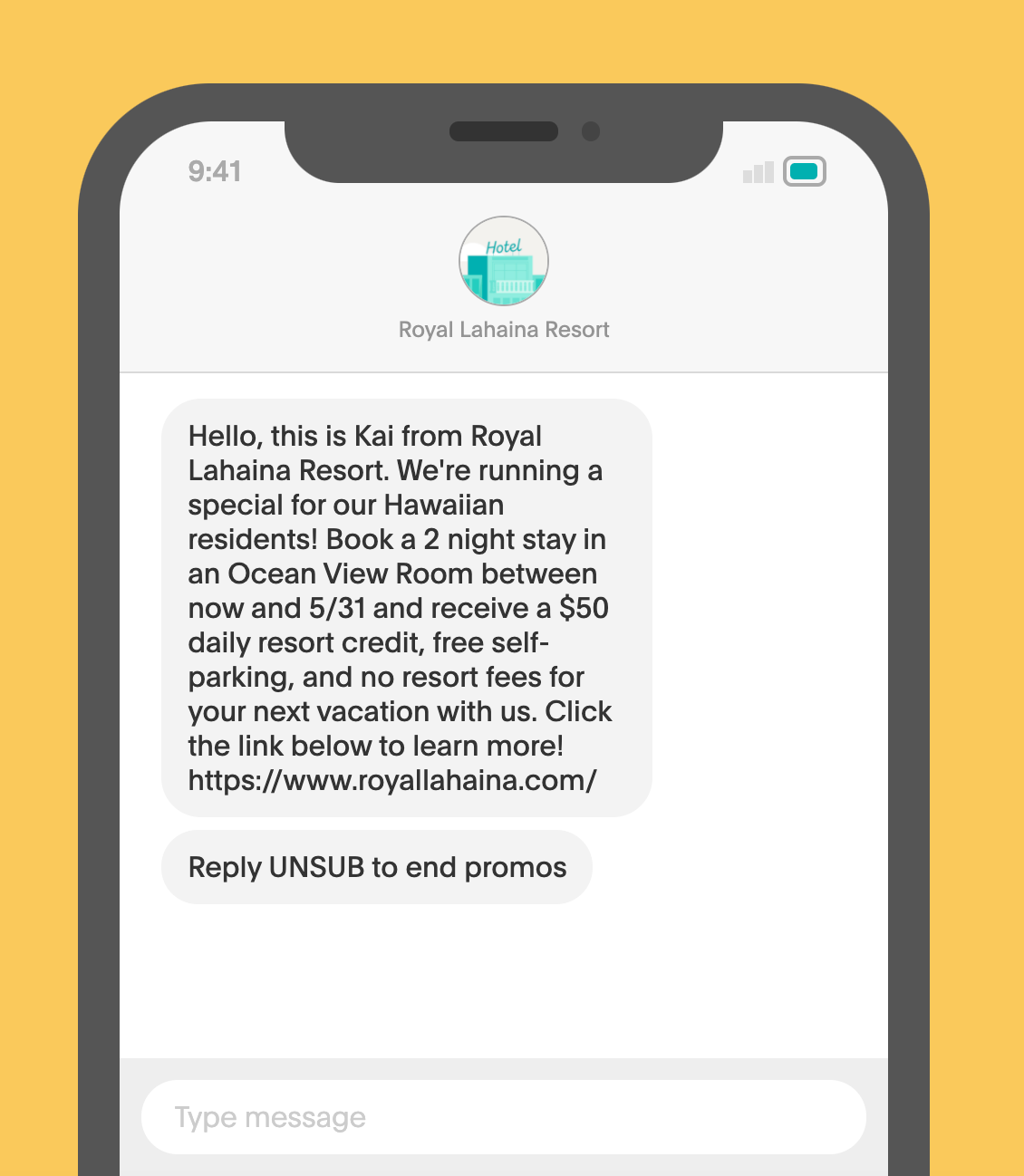 Royal Lahaina Resort SMS Campaign sample