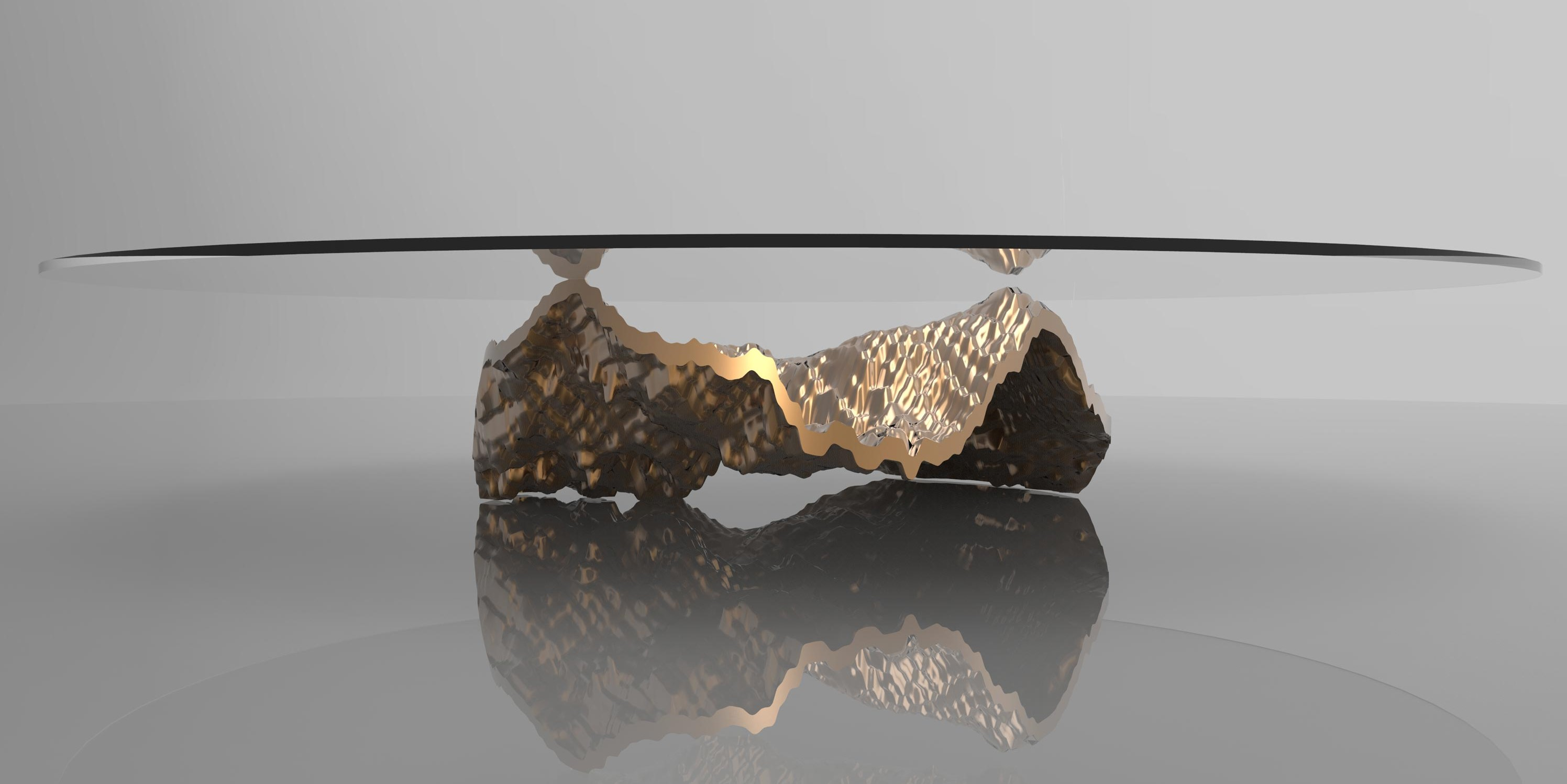Table concept based on the oceans rendered in metal