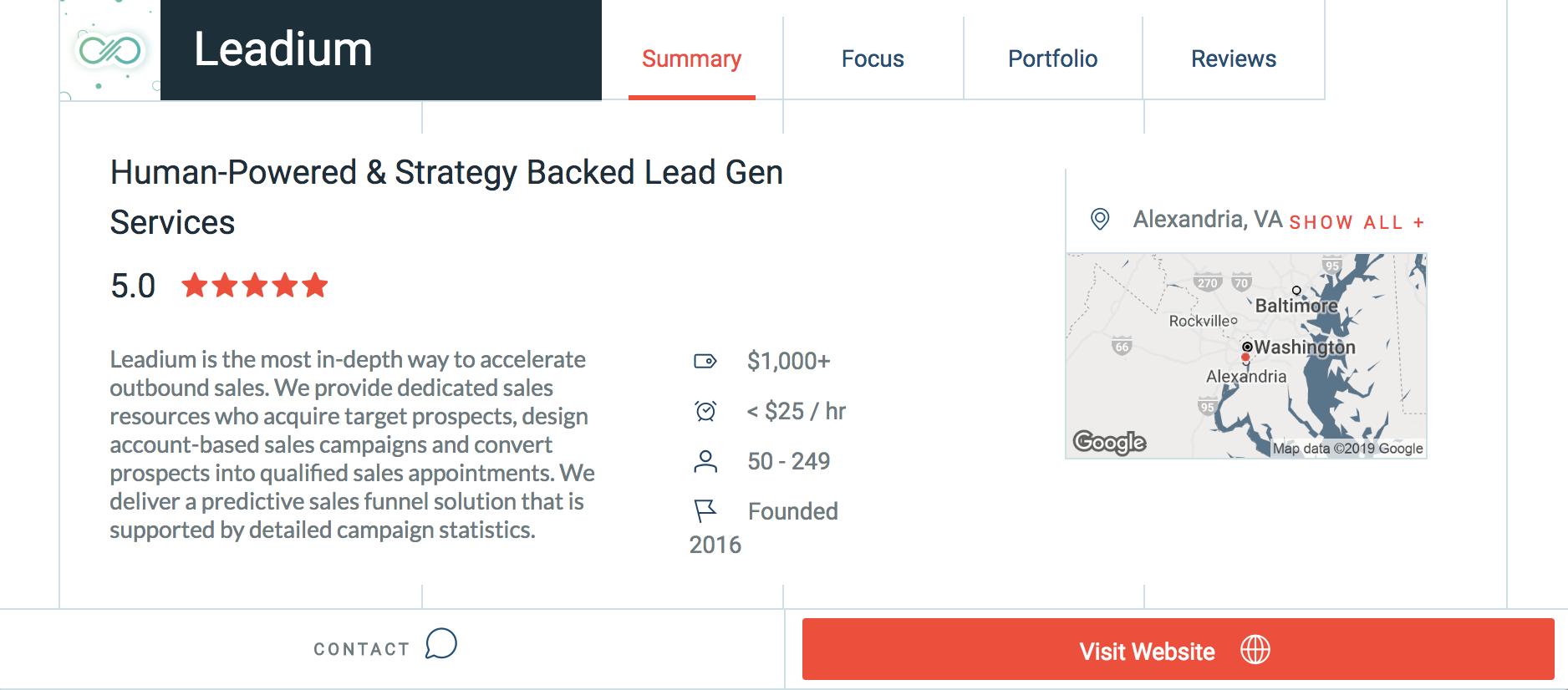 Leadium Named Premier Lead Generation Agency - Clutch.co