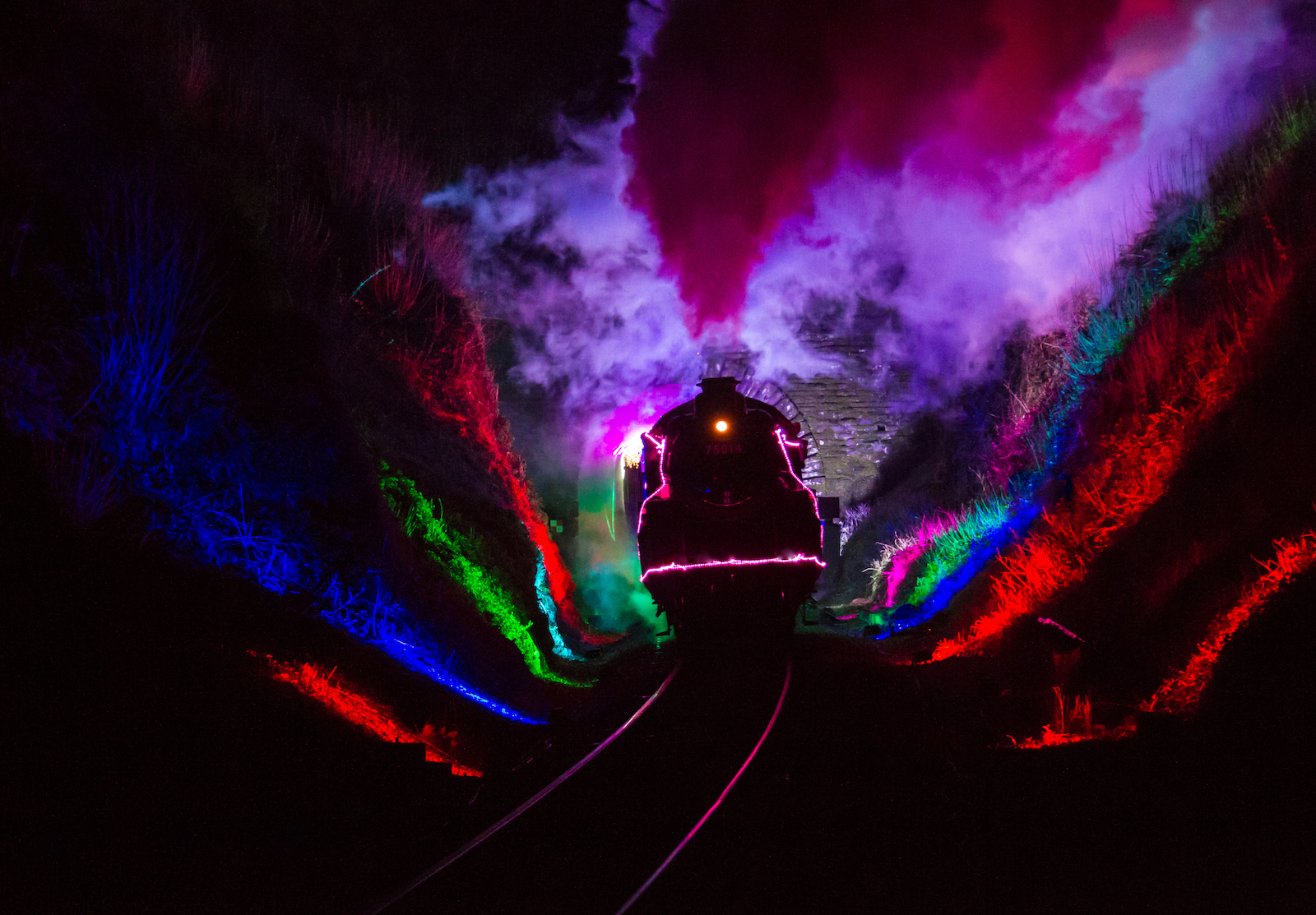 Dartmouth Train of Lights going through Greenway tunnel