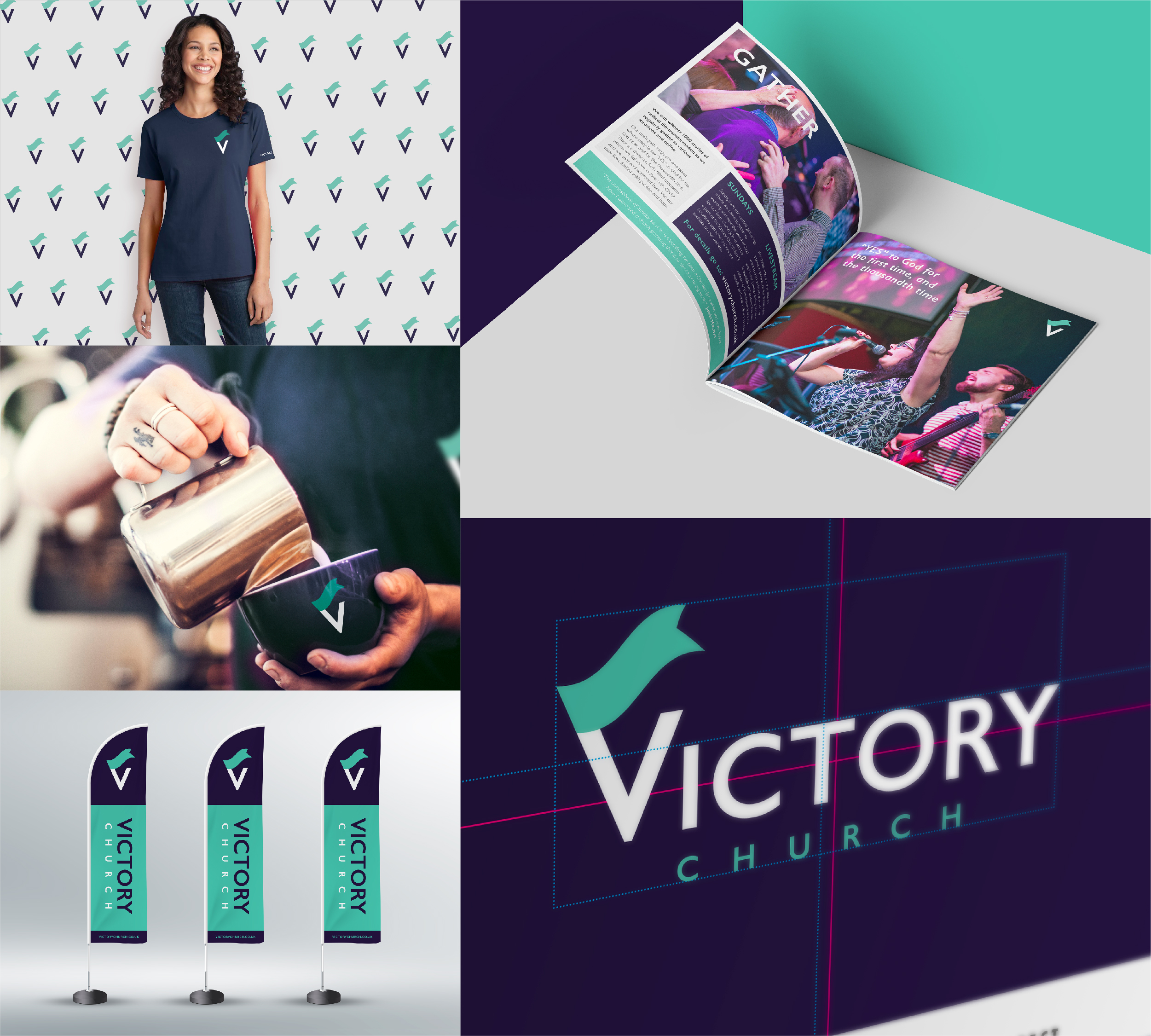 Victory Church branding applications - t-shirt / mug / brochure / flags