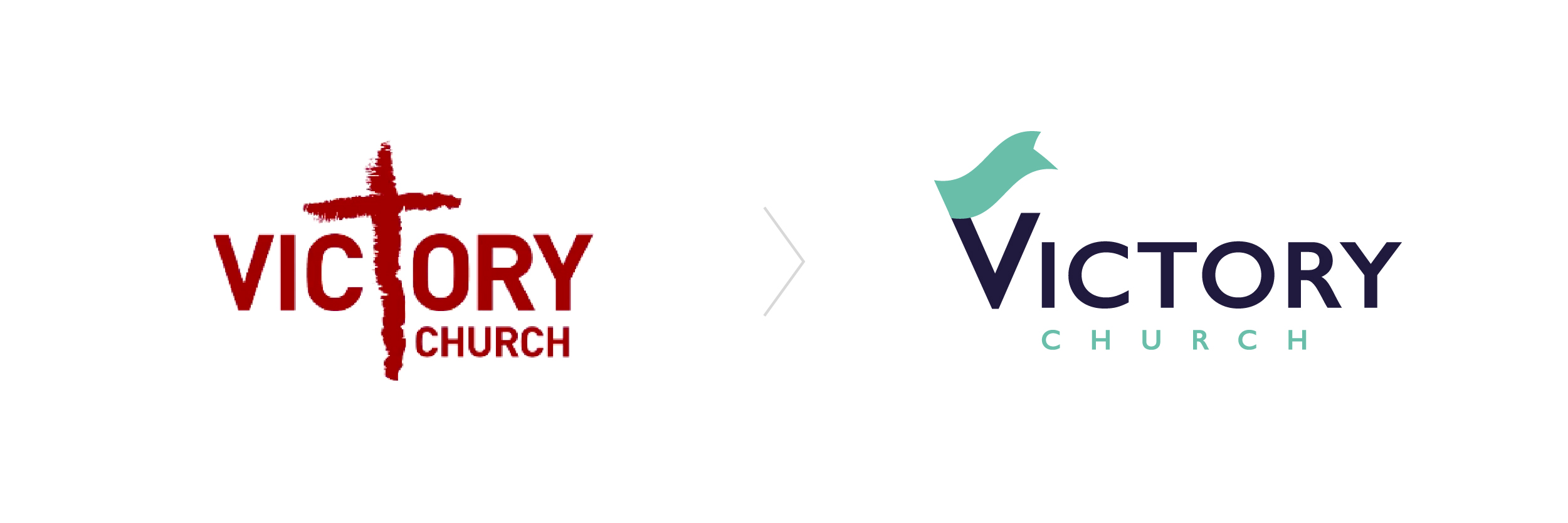 Victory Church logo before and after