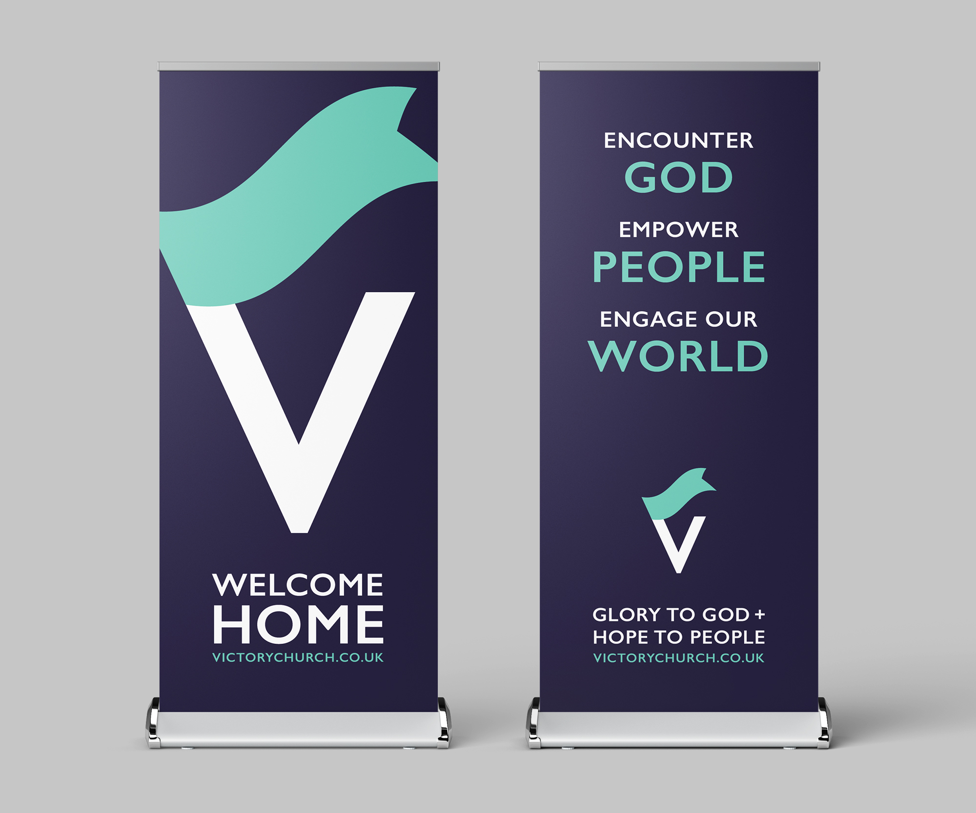 Victory Church roller banners