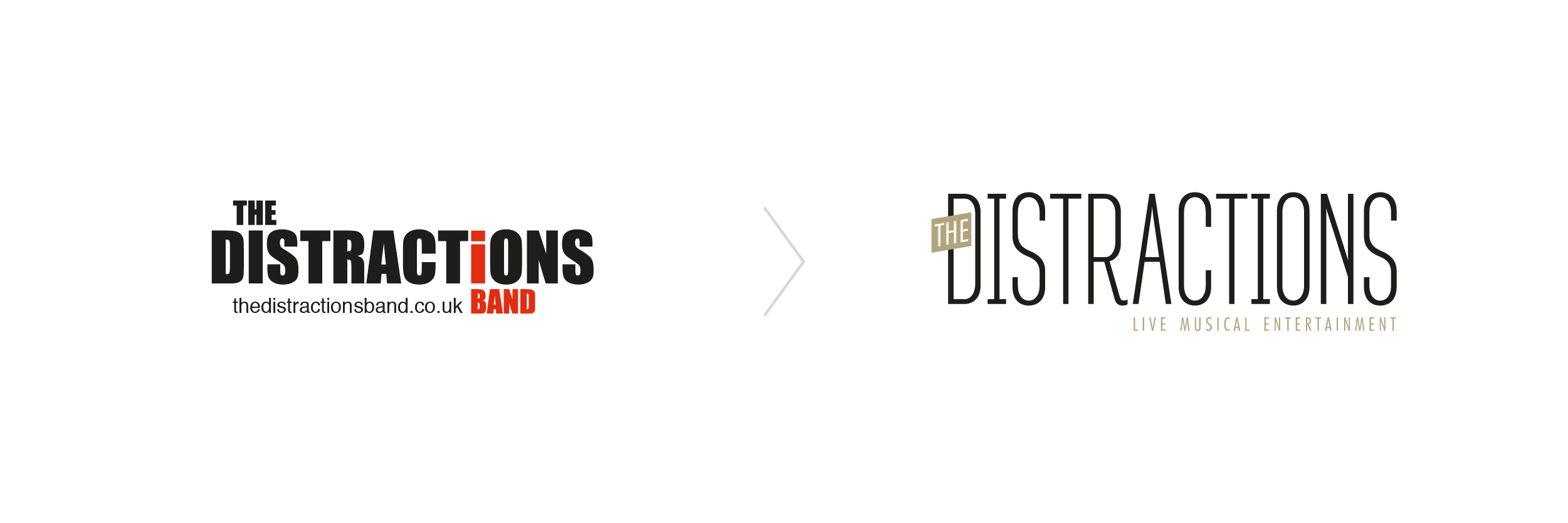 The Distractions Logo before and after