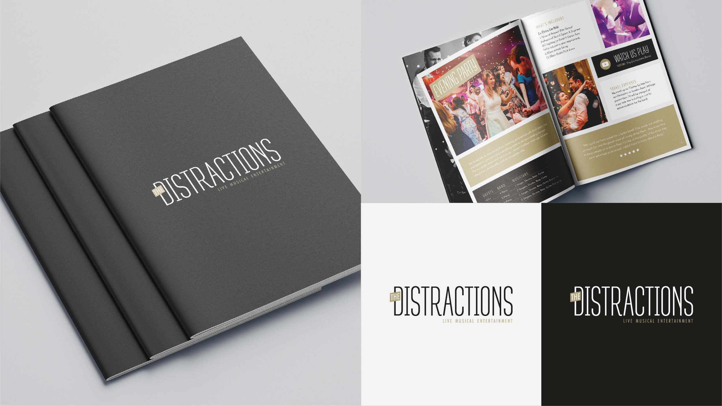 The Distractions Band brochure design