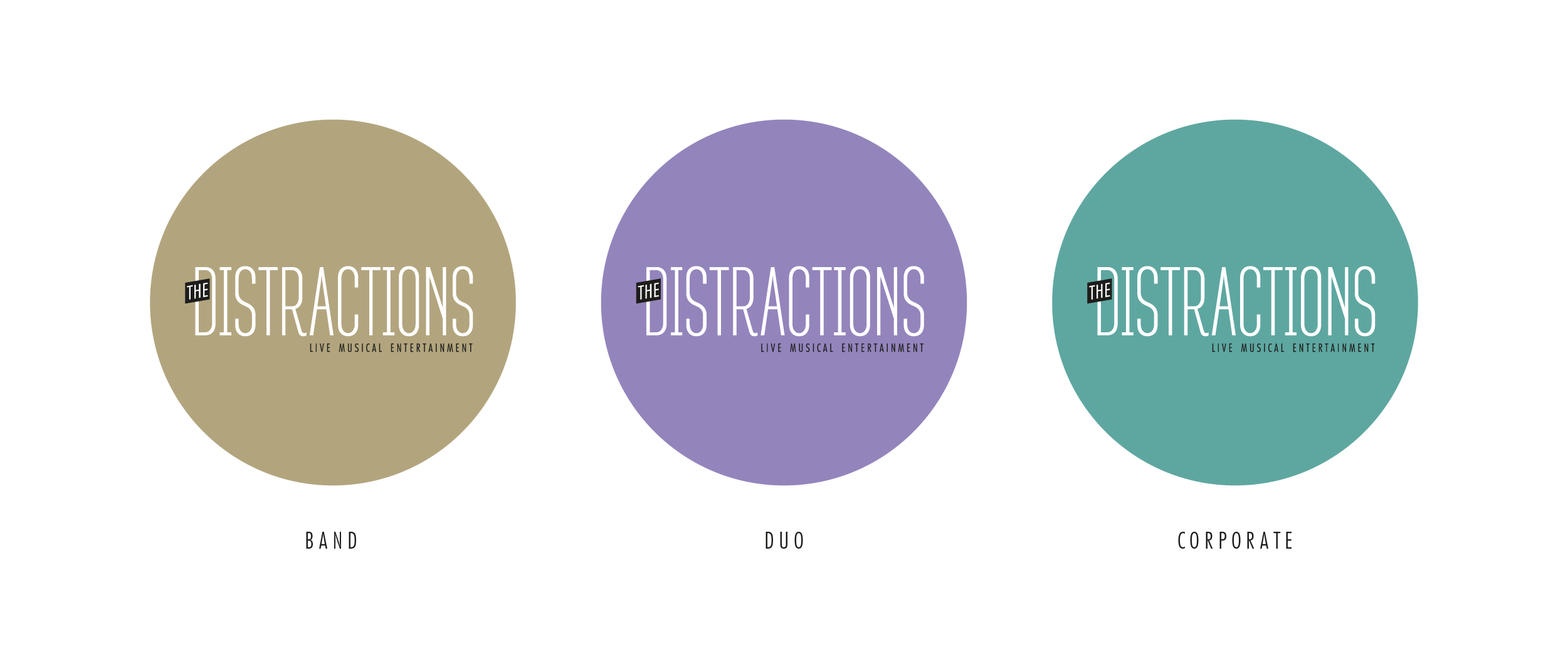 The Distractions Band colours for sub-brands - Band / Duo / Corporate