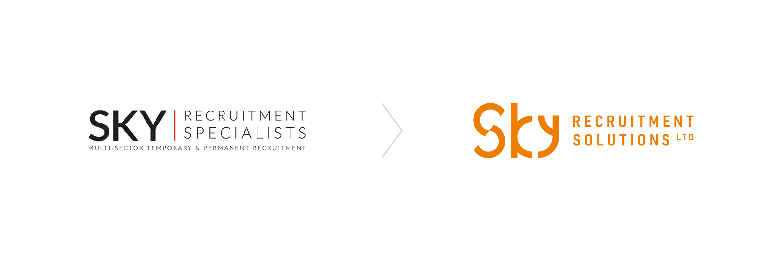 Sky Recruitment Solutions logo before and after