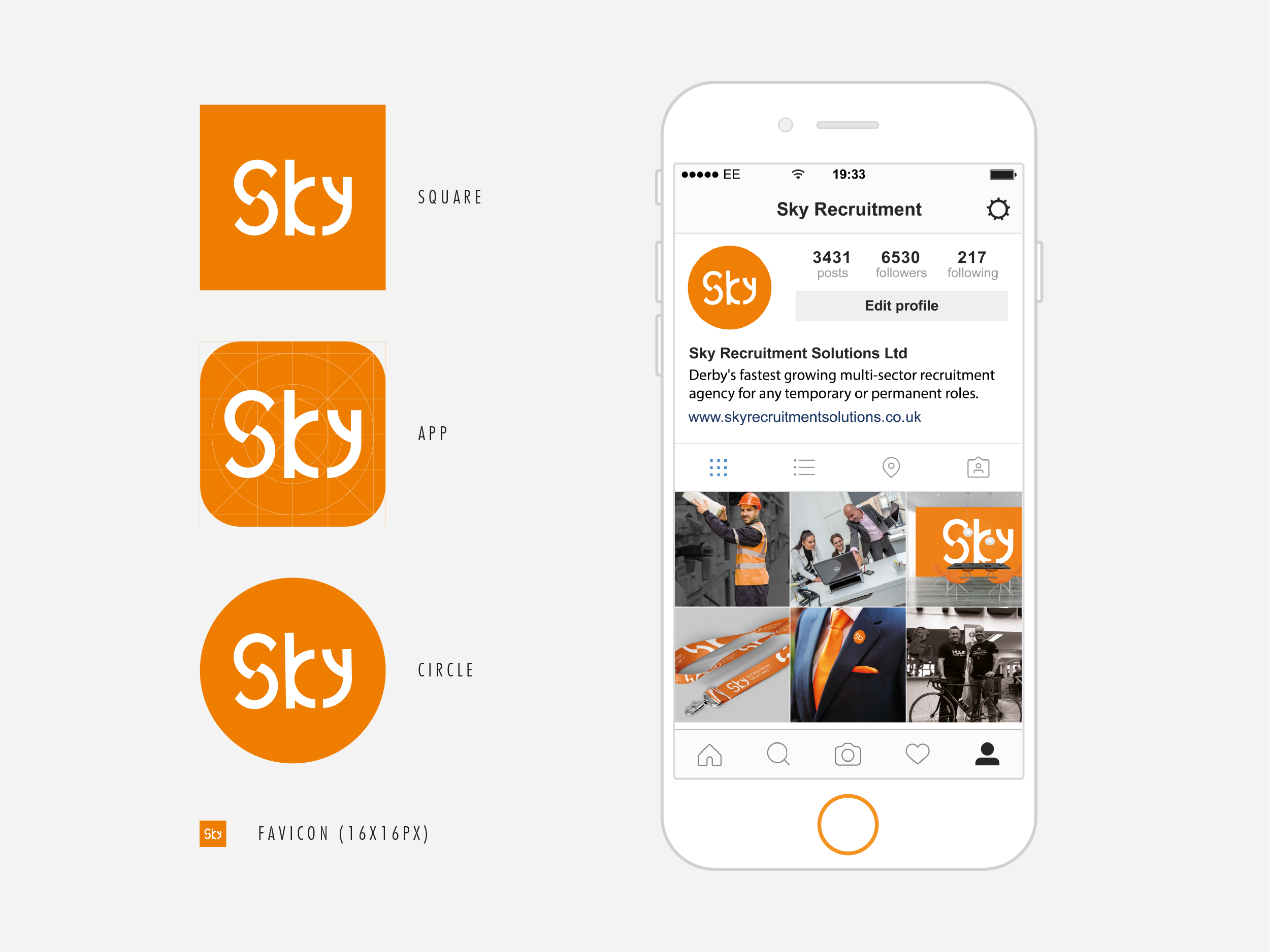 Sky Recruitment Solutions icon and instagram