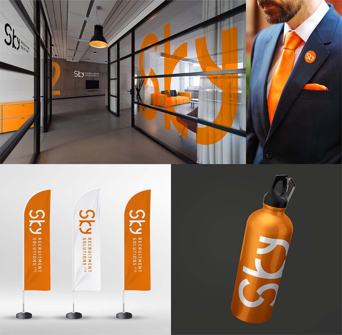 Sky Recruitment Solutions branding applications - office / uniform / flags / water bottle