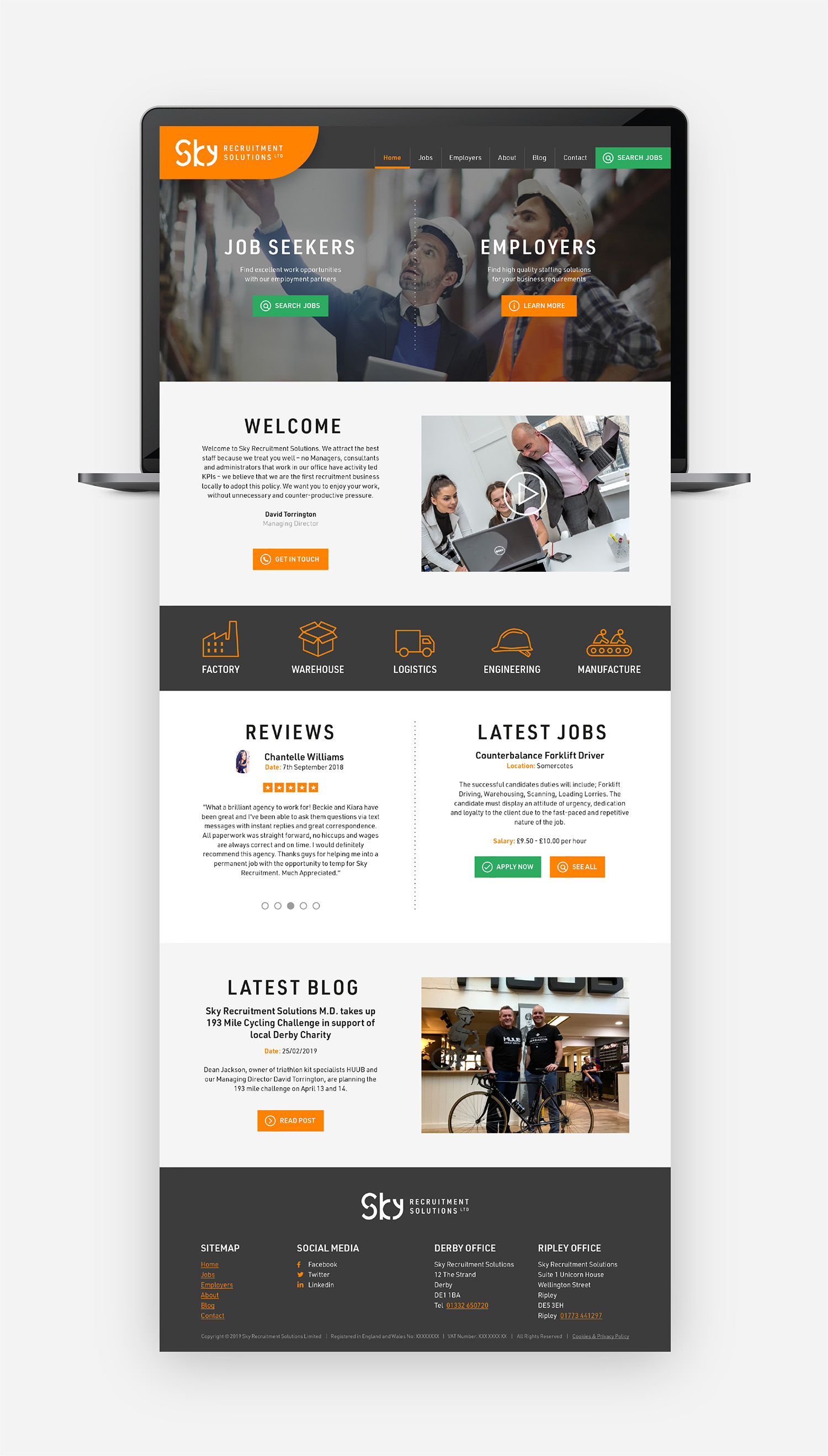 Sky Recruitment Solutions website design - homepage