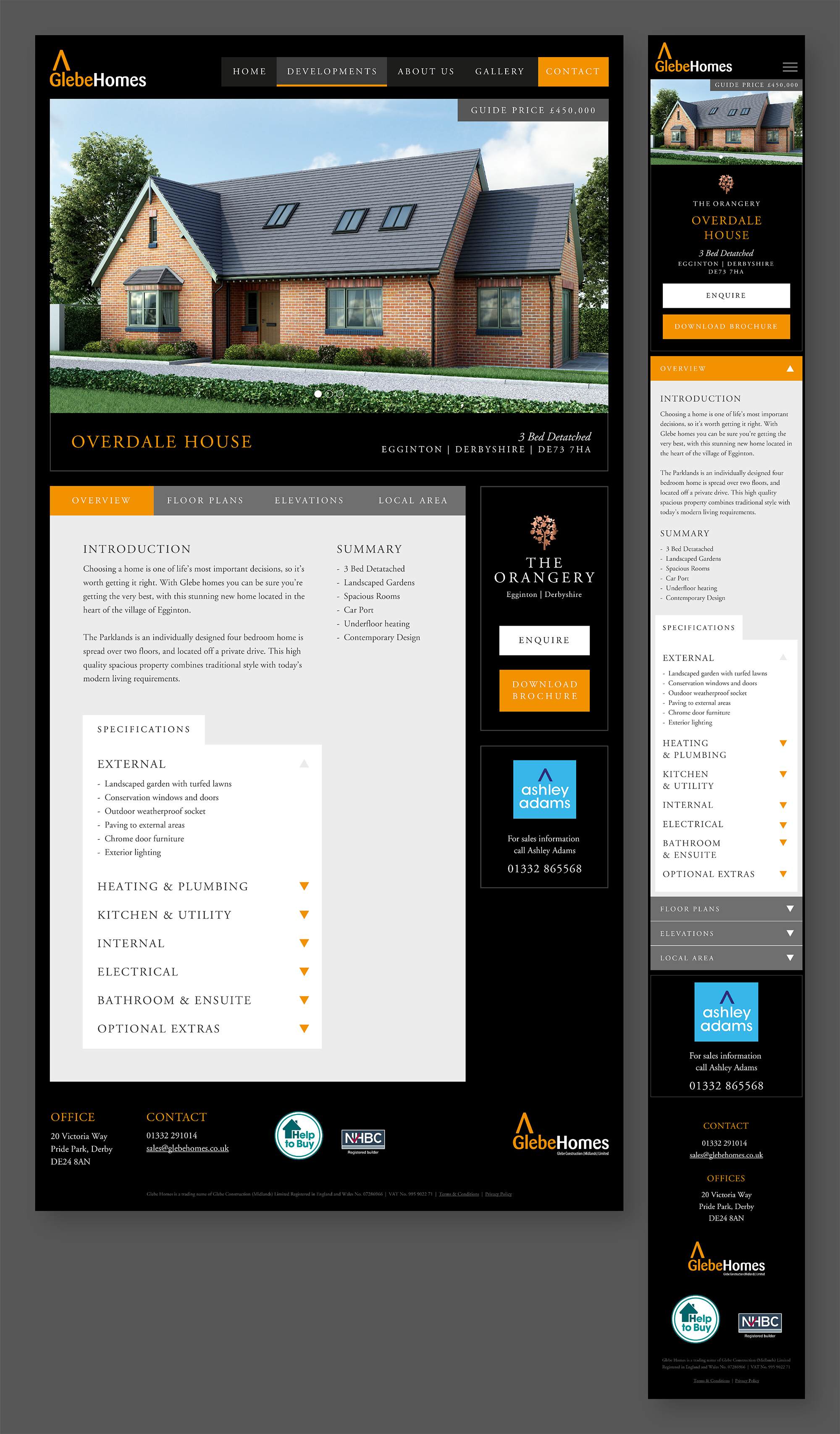 Glebe House Web Page and Mobile Site