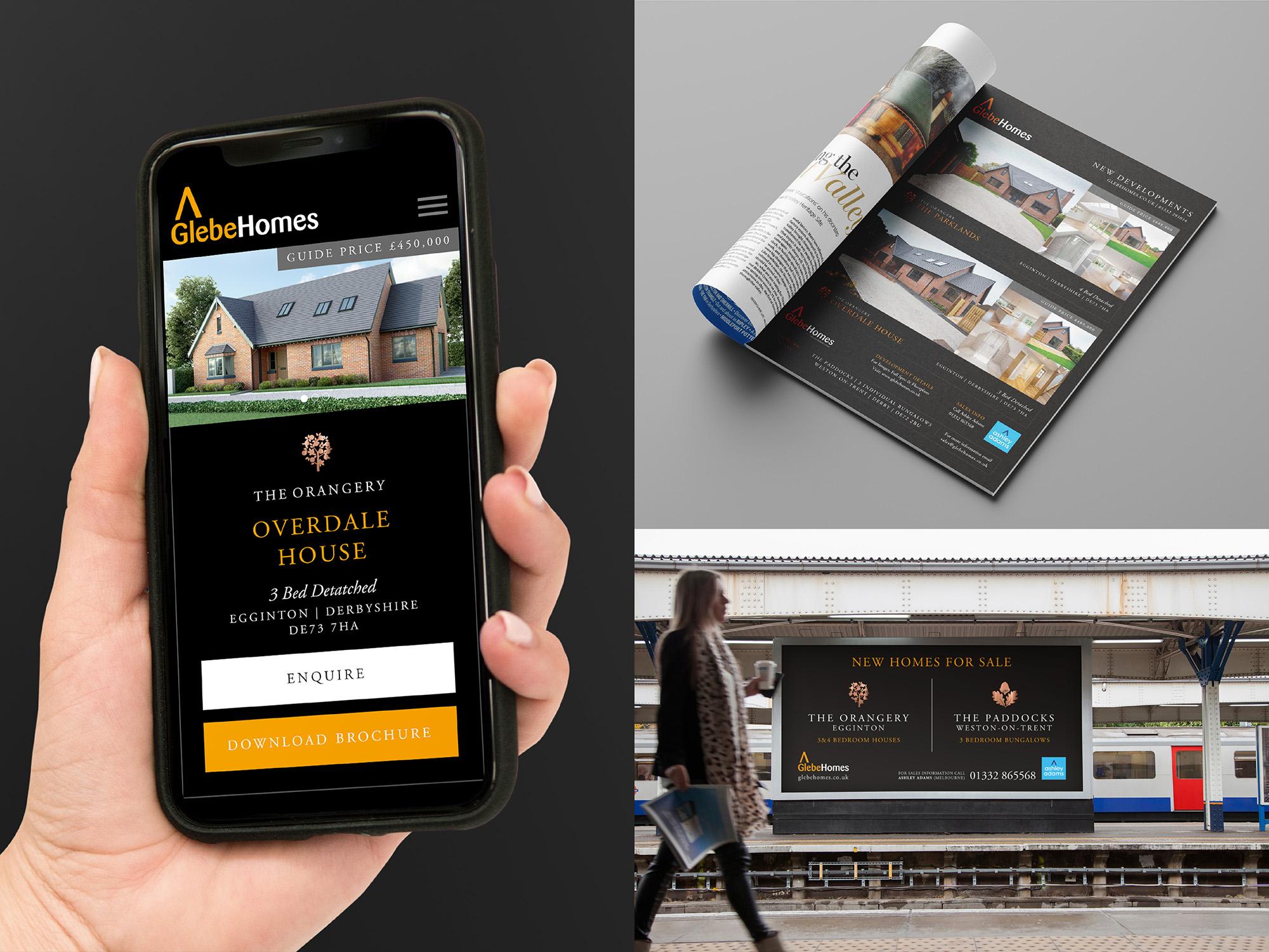 Glebe Mobile Website, Magazine Advert, Billboard