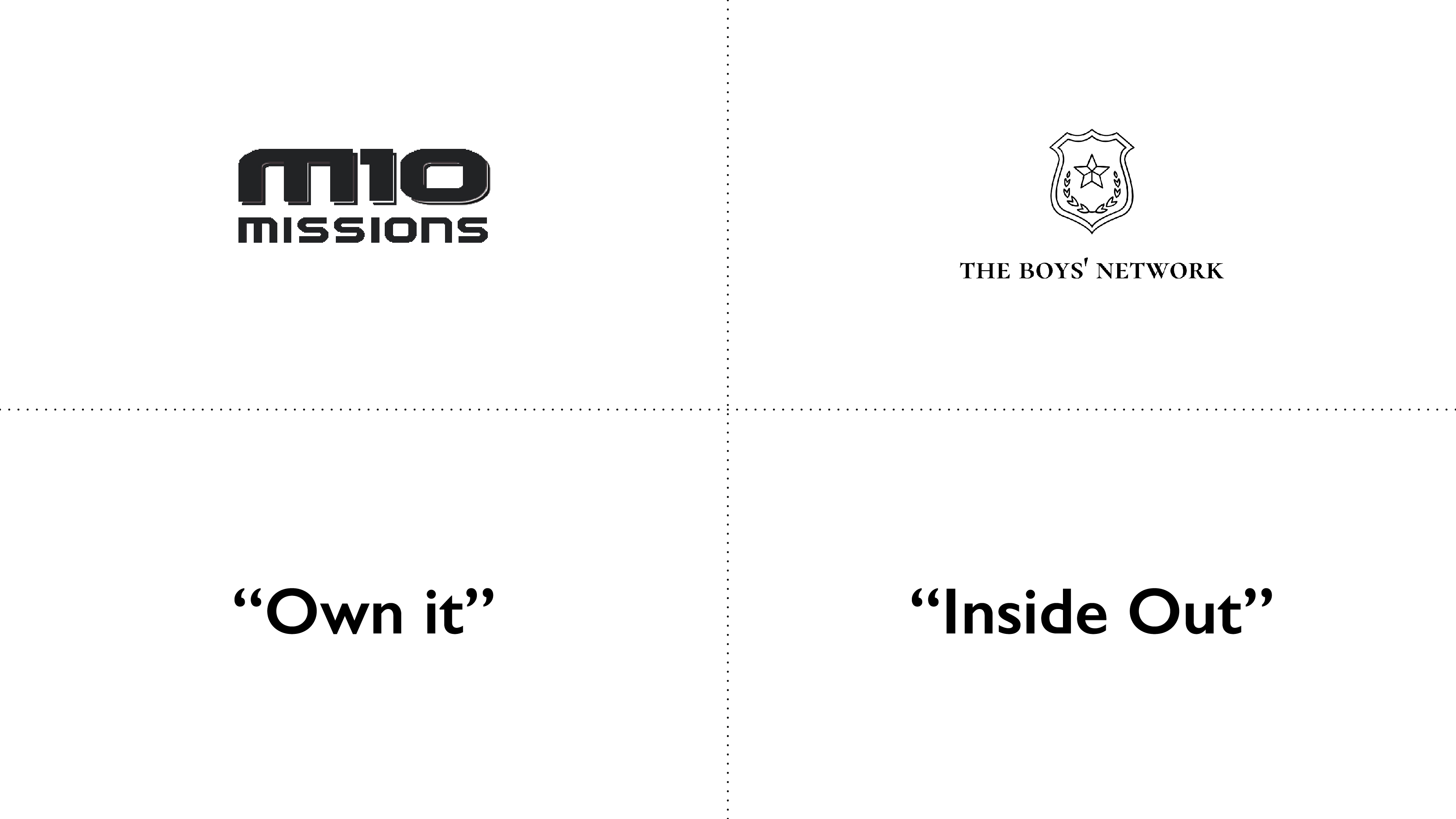 M10 Missions, The Boys Network, Own it, Inside Out