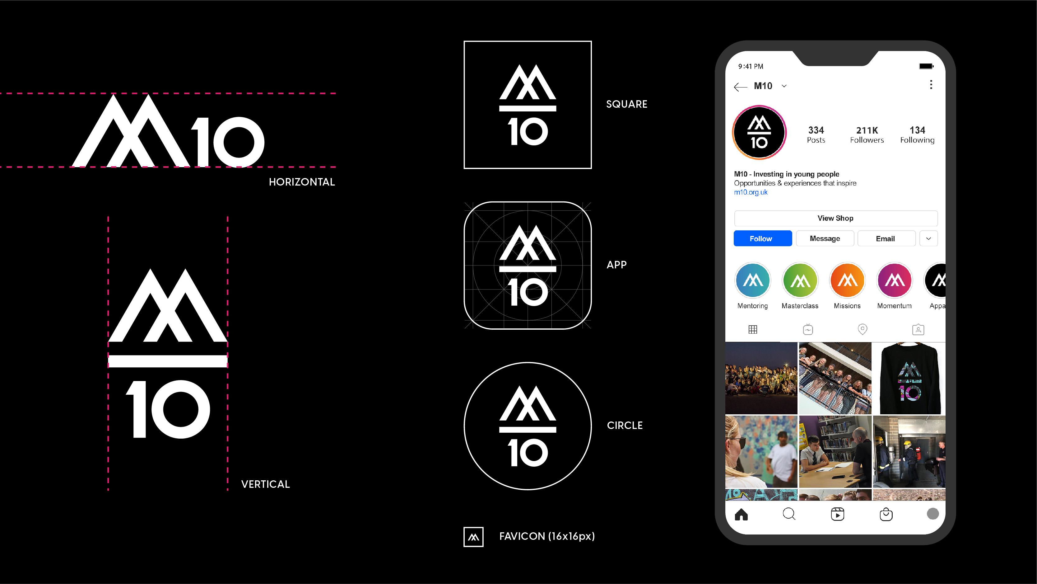 M10 social Media / vertical stack logo
