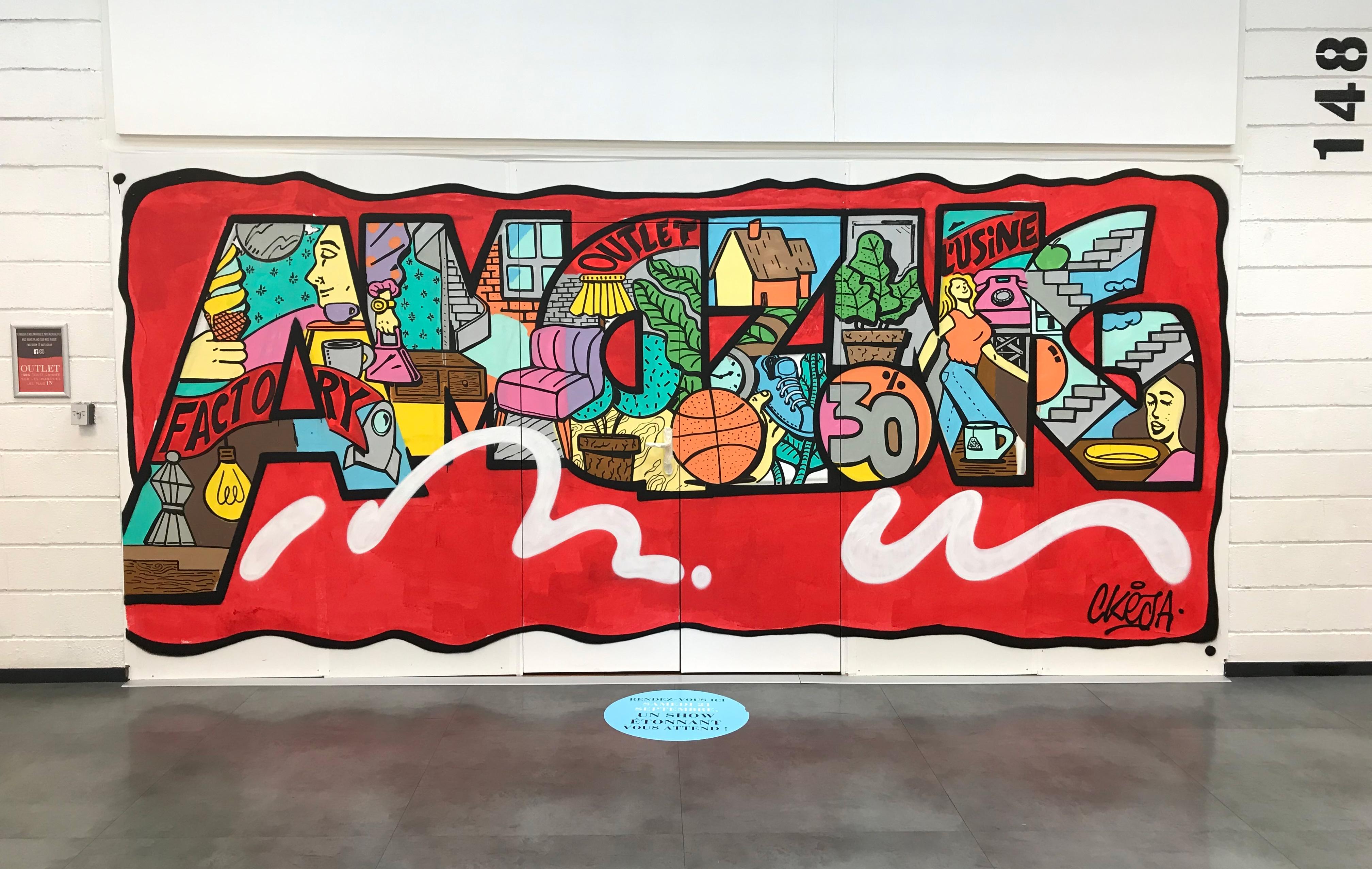 décoration graffiti street art sur palissade