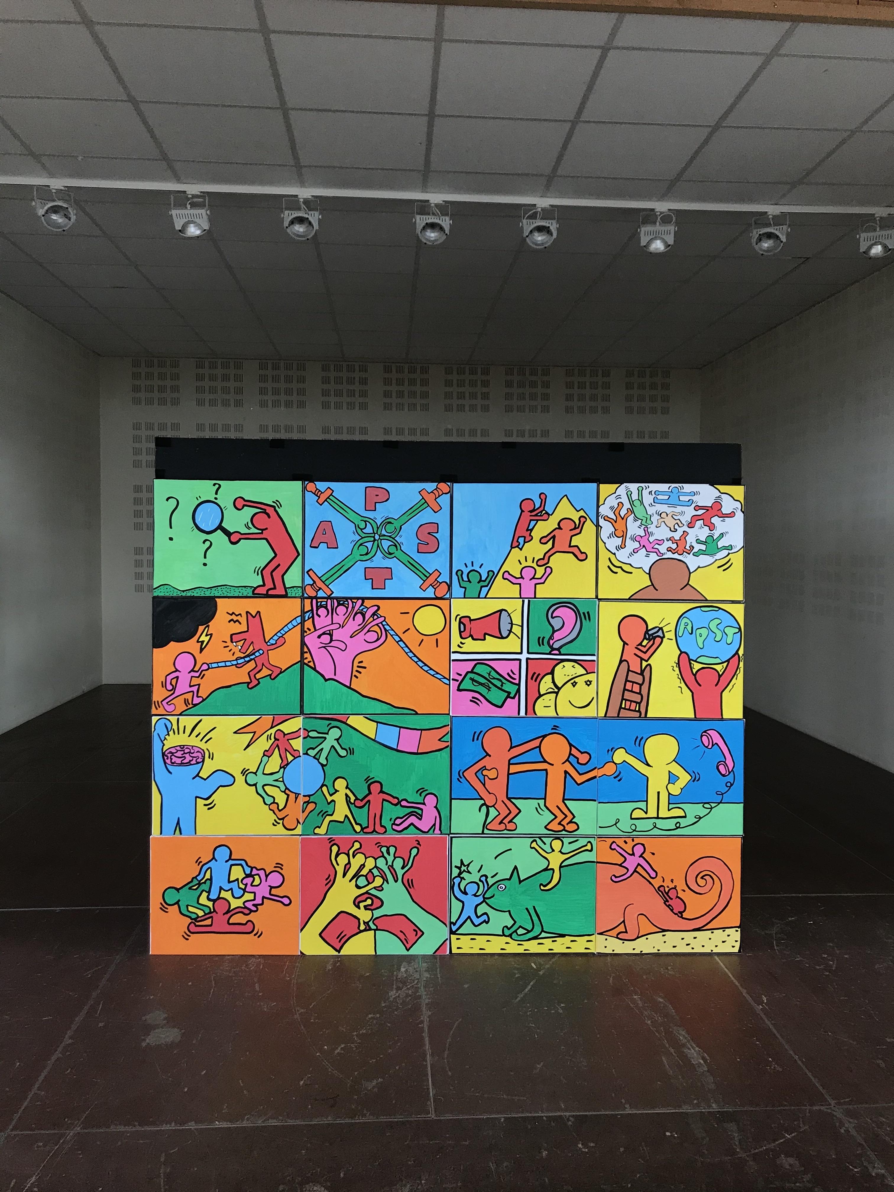 fresque de team building  pop art géante