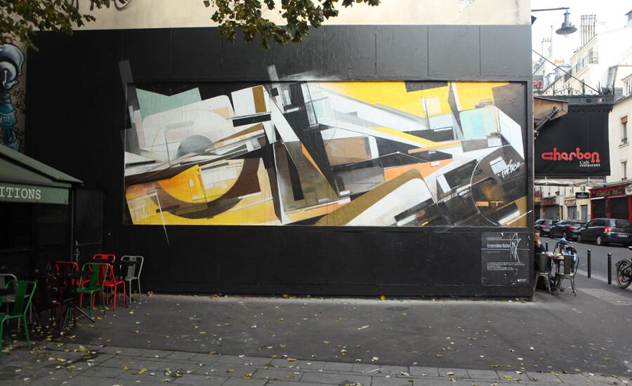 Fresque muraliste graphique