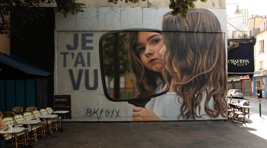 peinture d'un fille qui se regarde dans un miroir