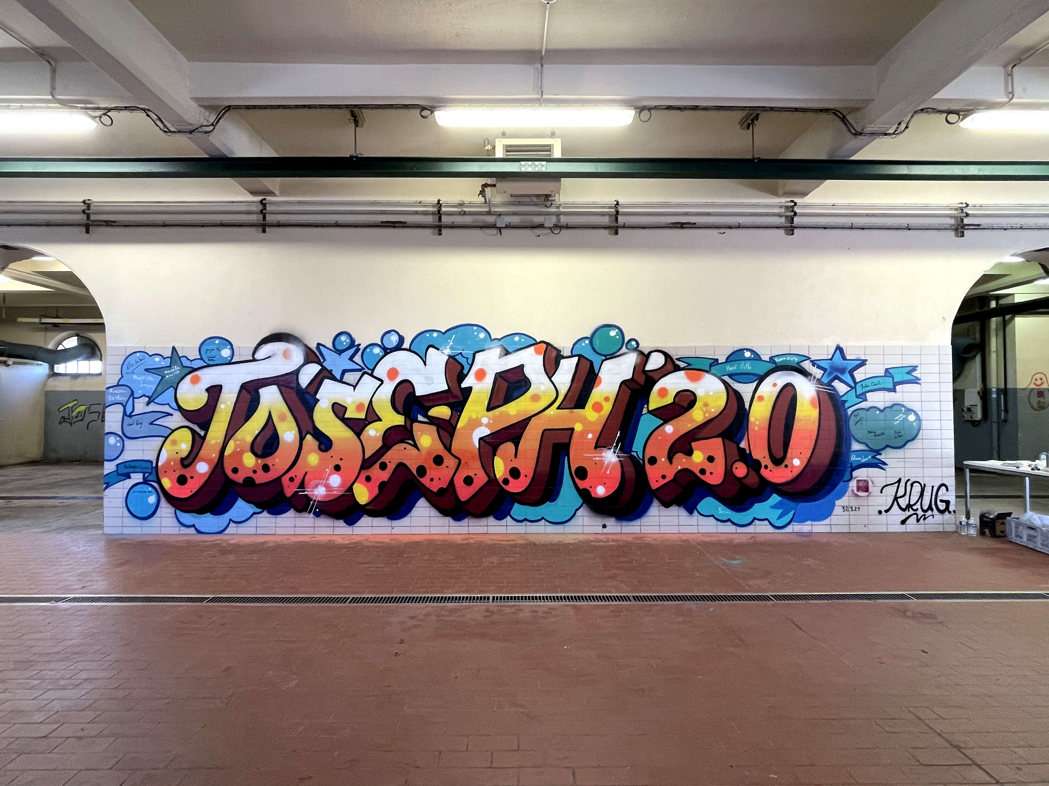 Graffiti sur mur en carrelage
