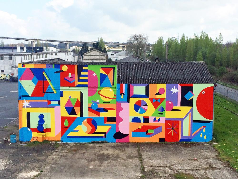 fresque muralisme coloré et géométrique en belgique
