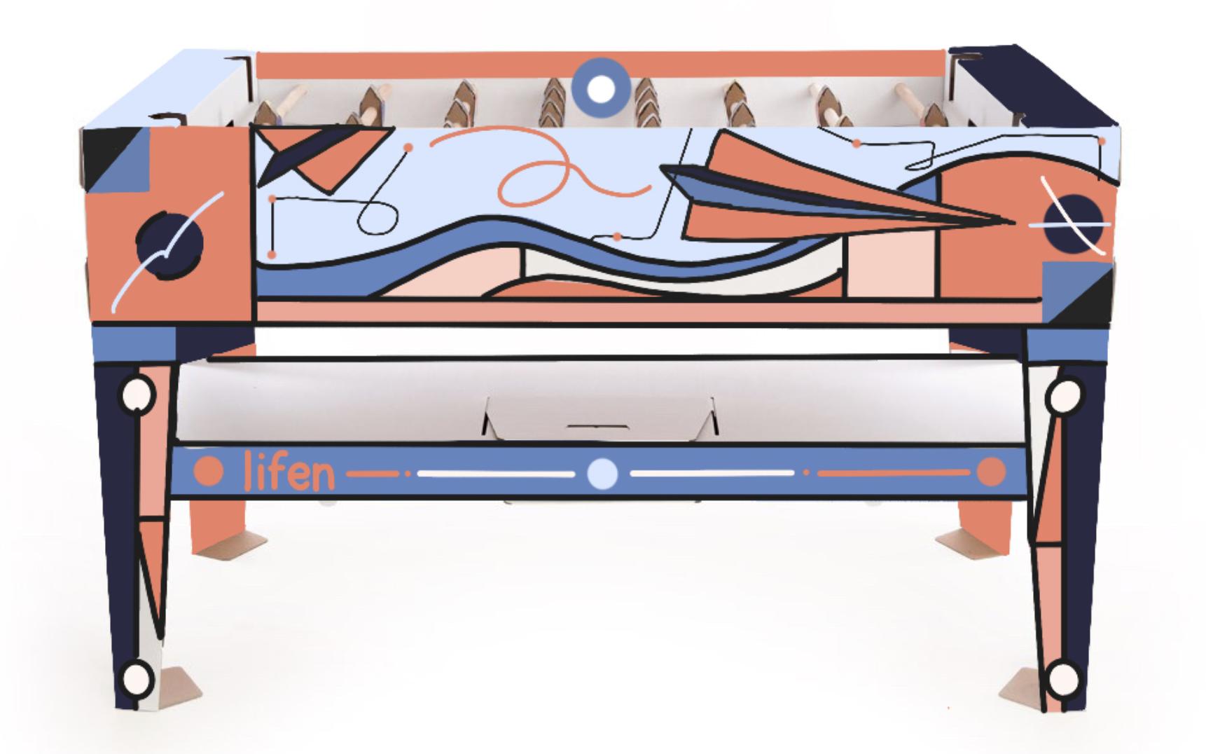 Baby foot en carton personnalisé par un graffeur