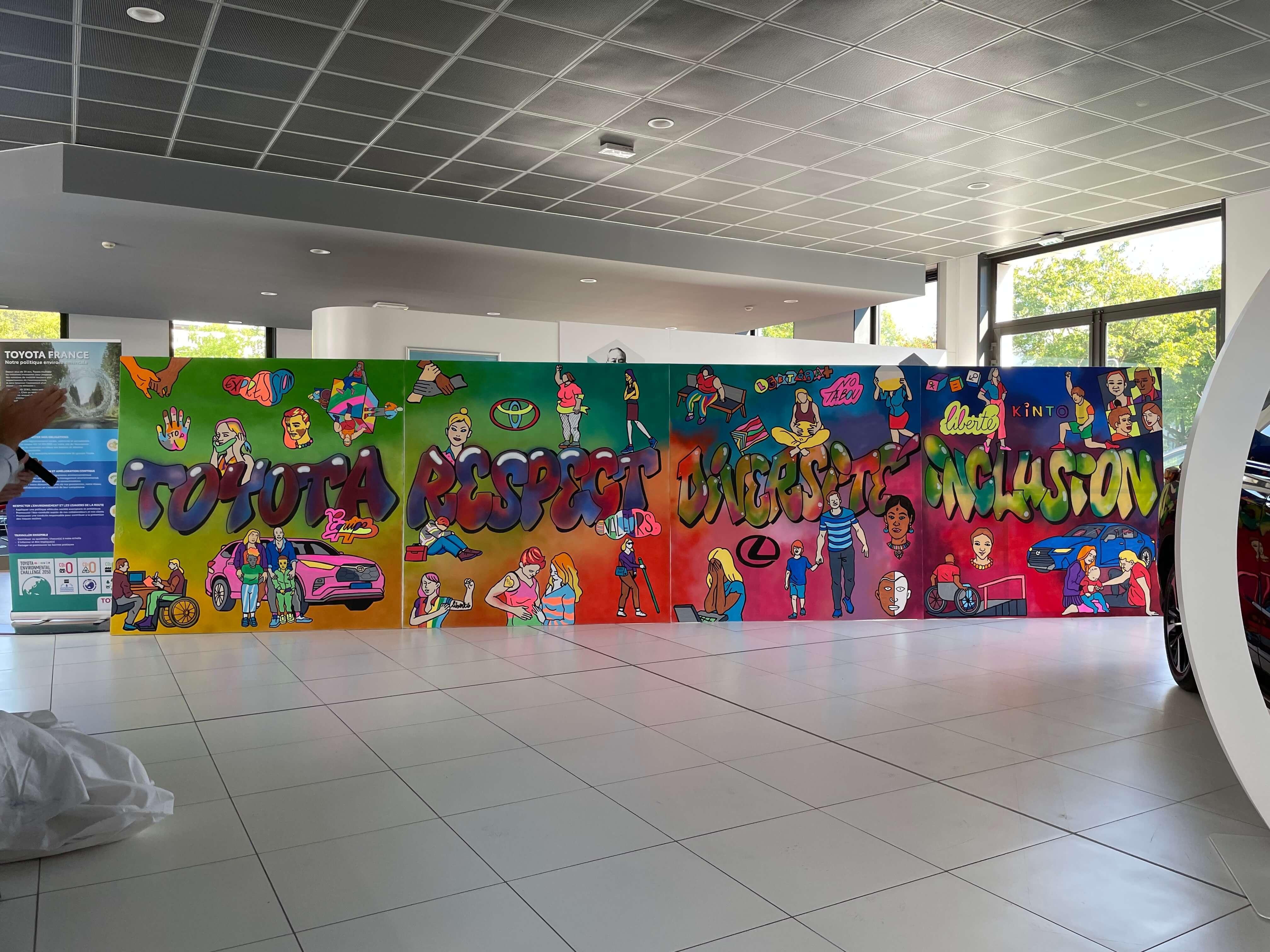Fresque street art et graffiti géante sur toiles dans les locaux de Lexus et Toyota France
