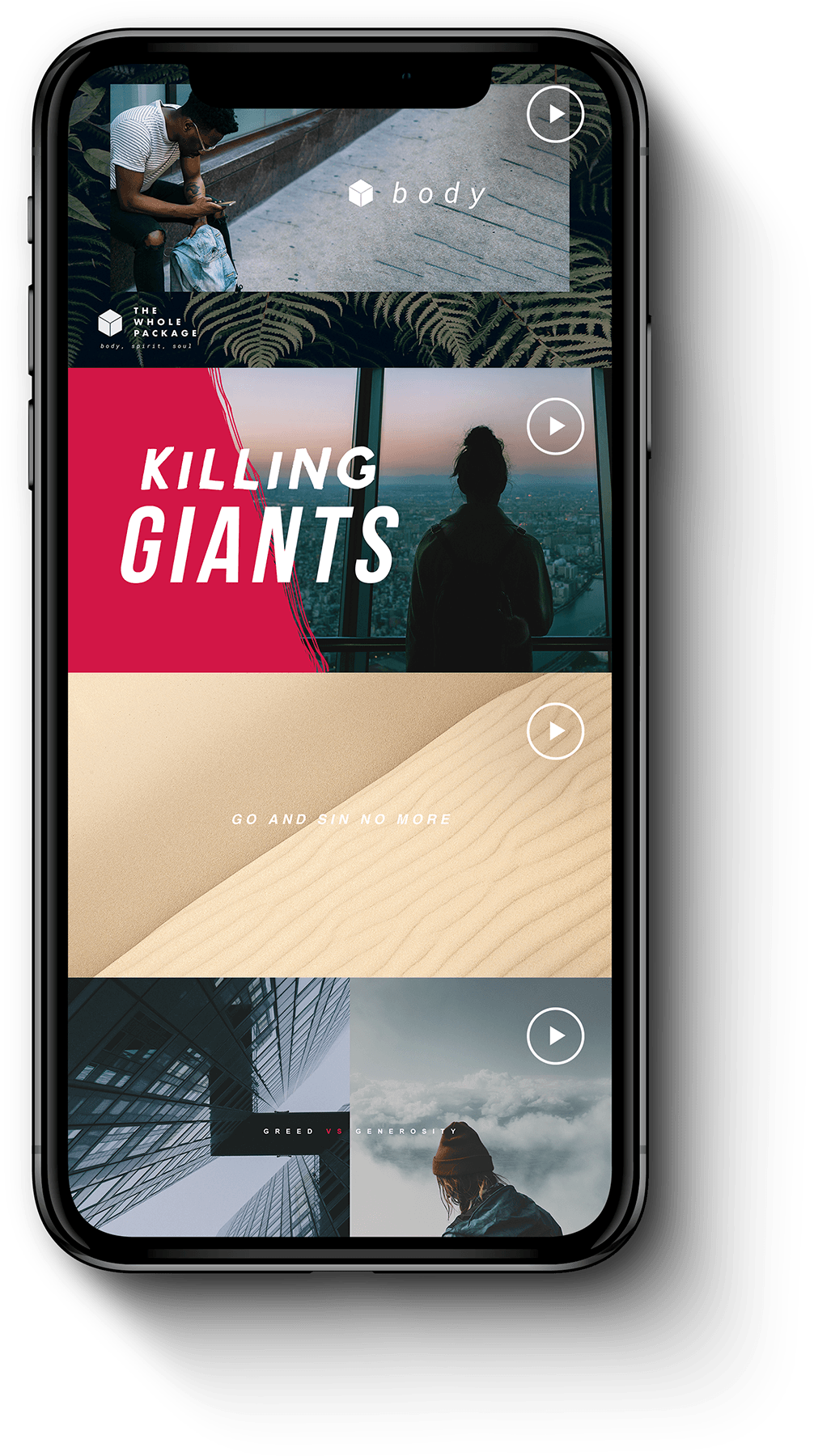 An Smartphone displaying some of the weekly podcasts.