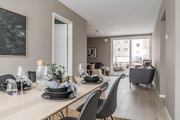 Adskilt stue og spiseplass