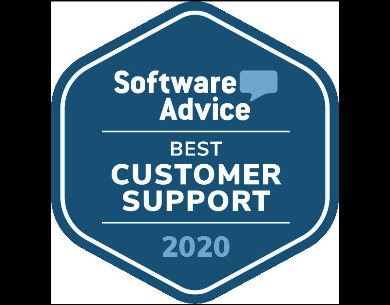 Software Advice Award Badge: 5 stars, best customer support legal billing software of 2020