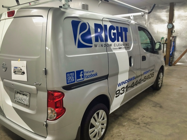 Window Cleaning company van parked indoors and has logo displayed on side in Paducah Kentucky.
