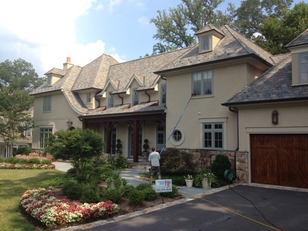 Residential home windows being cleaned in Bethesda Maryland.