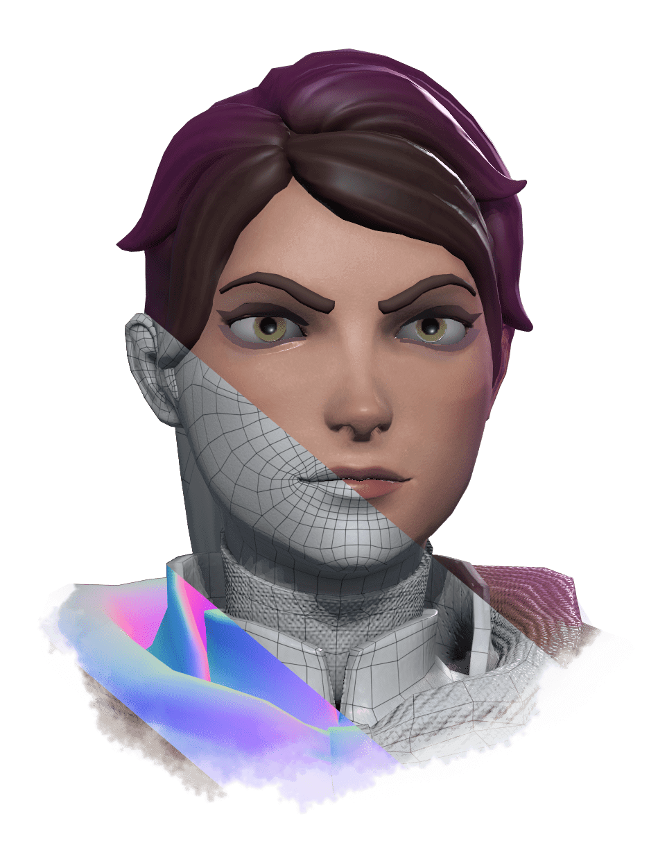 3D Wireframe Female Face