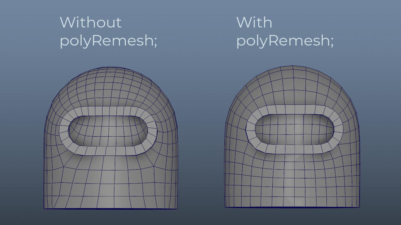 Maya Retopology polyRemesh comparison