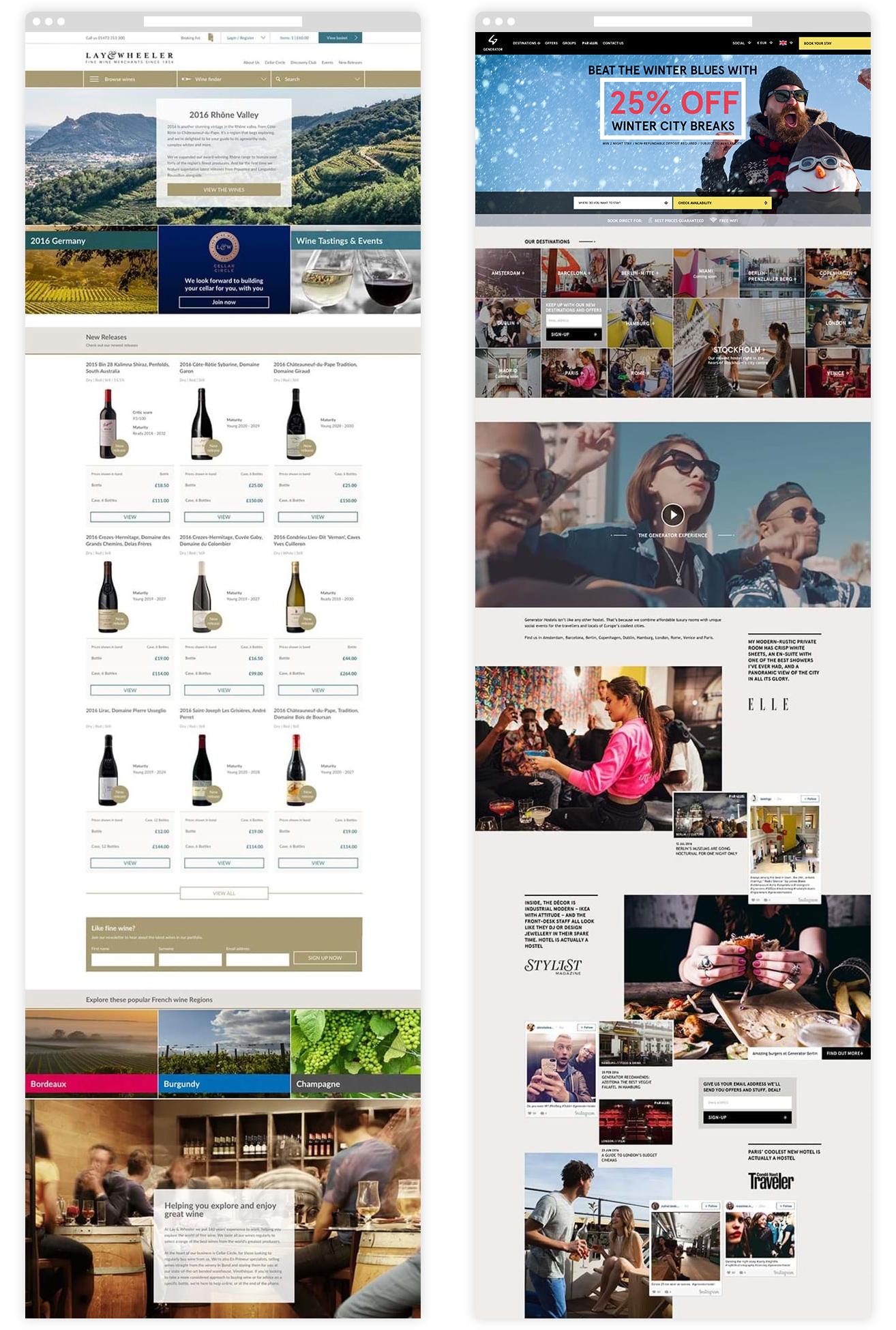 Lay & Wheeler and Generator Hostels web visuals