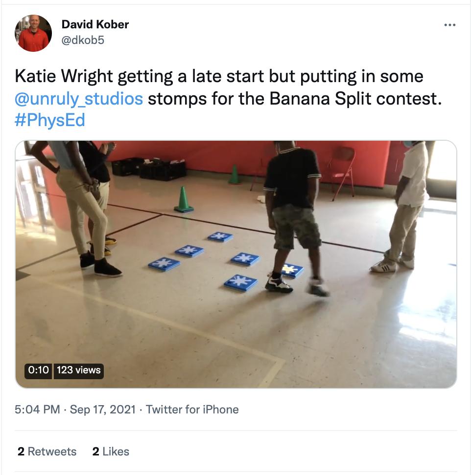 PE Teacher, David Kober, used Banana Split as a point booster!