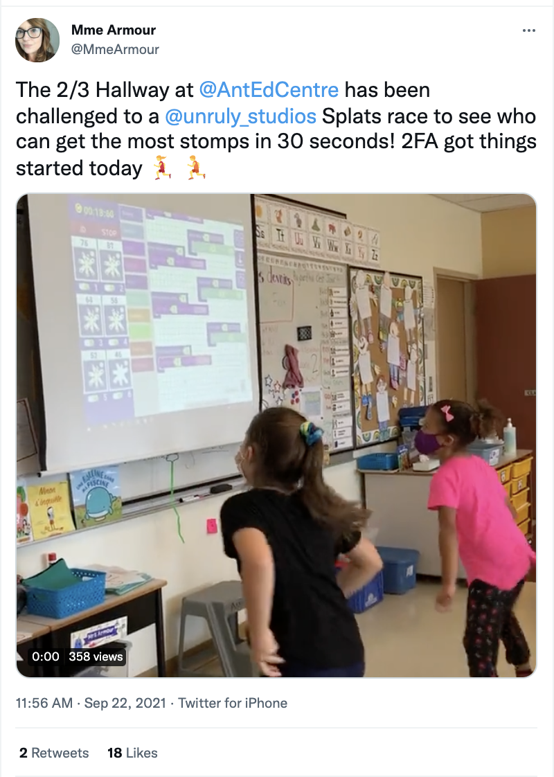Students from Antigonish Education Center used brain breaks to boost their stomp count with Race in Place battles!