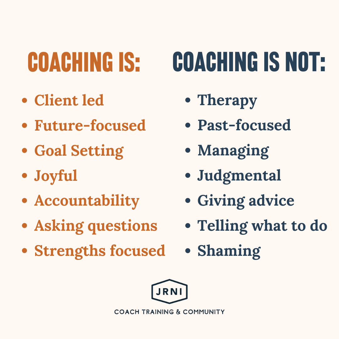 Coaching is: client led, future-focused, goal setting, joyful, accountability, asking questions, strengths focused. Coaching is not: therapy, past focused, managing, judgemental, giving advice, telling what to do, shaming