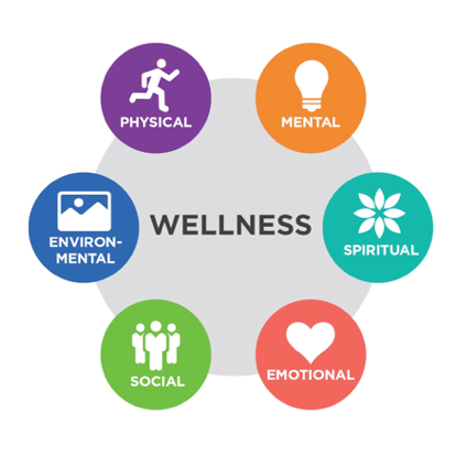 Circle depicting 6 aspects of welless: physical, mental, spiritual, emotional, social and environmental