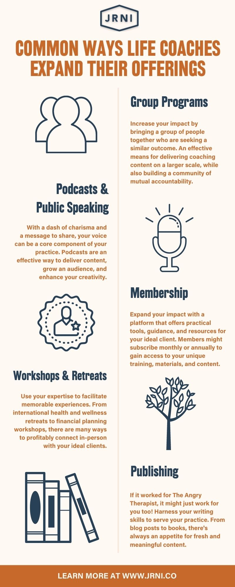 Diversify! List of common ways coaches expand their offerings, including: Group Programs, Podcasts & Public Speaking, Membership, Workshops & Retreats, Publishing